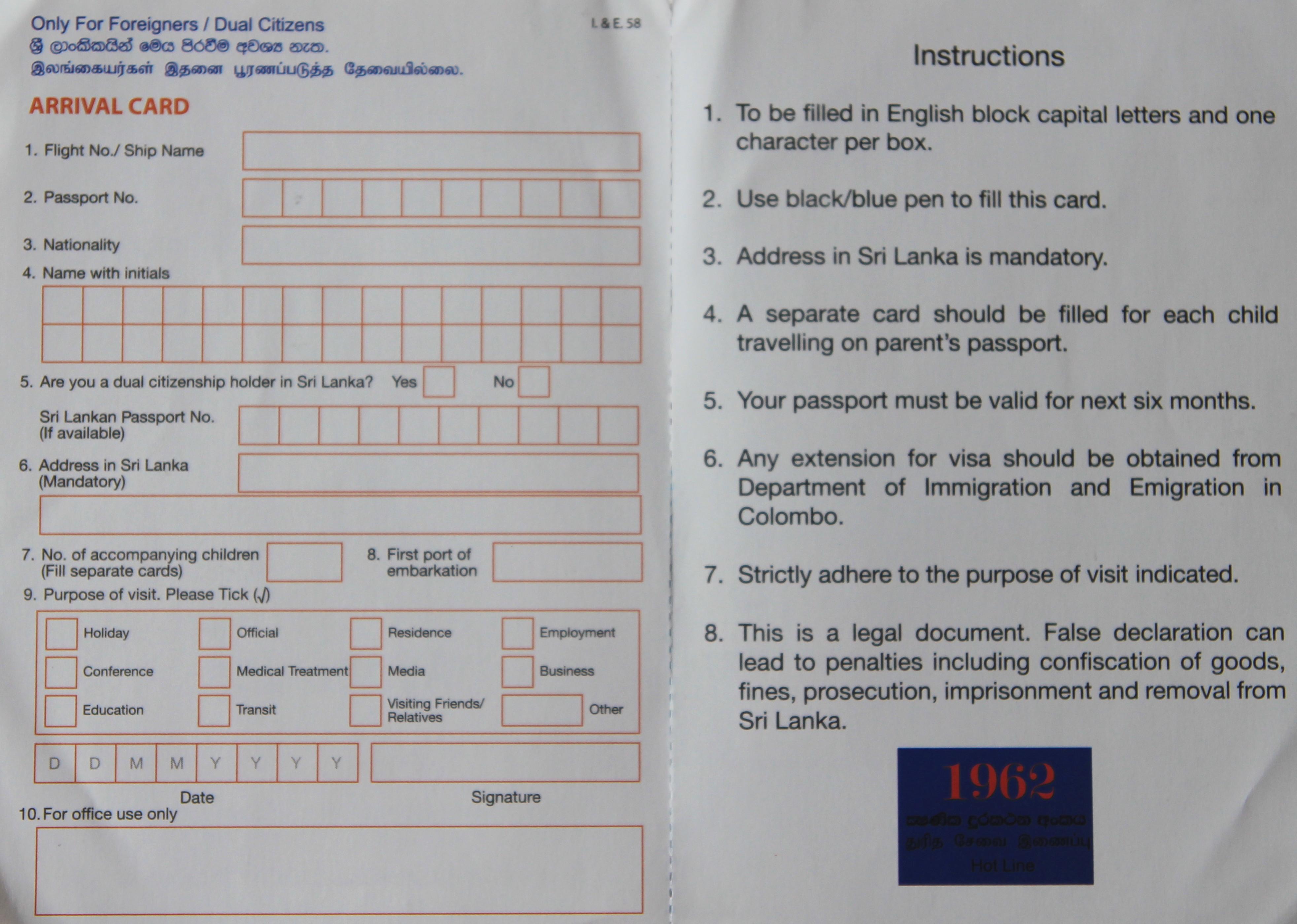 Sri Lanka víza príjazdová karta