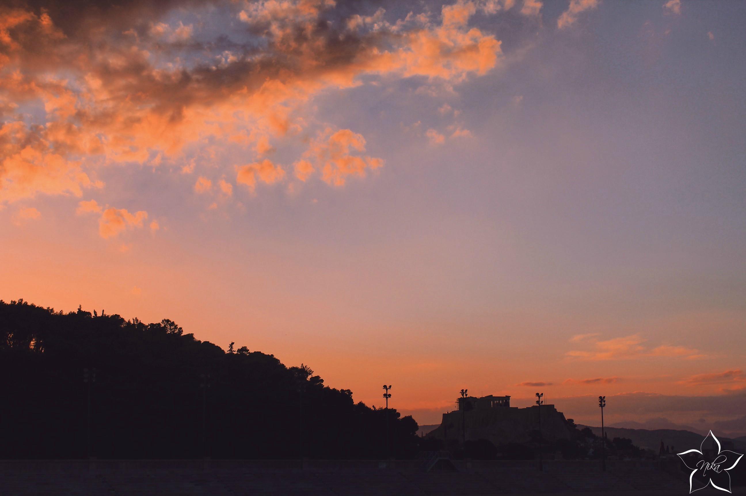 sunset greece acropolis