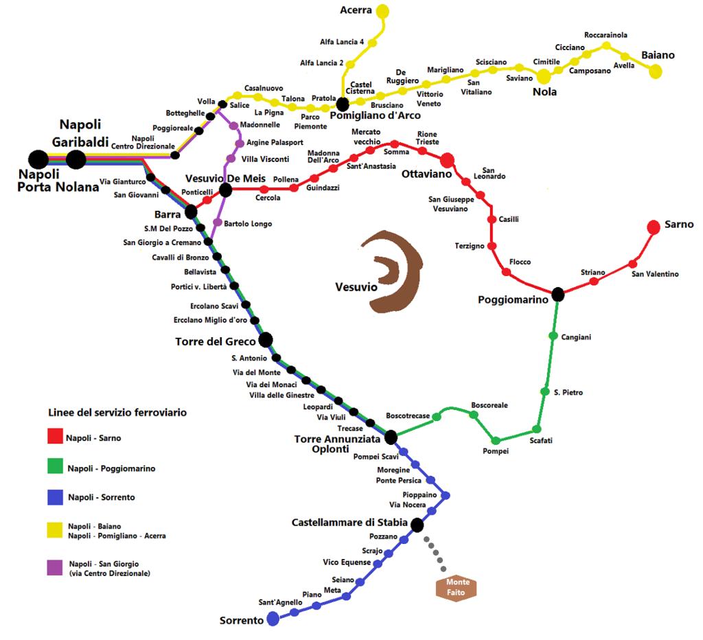 Z Neapolu na amalfské pobrežie - mapa trás vlakov
