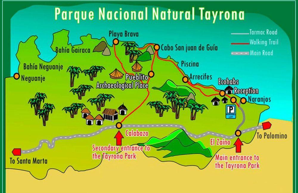 Národný park Tayrona - mapa